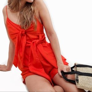 Coral Cami Romper with Bow Front